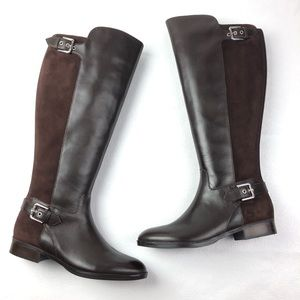 MARC FISHER Damsel boots 8.5 wide calf brown suede